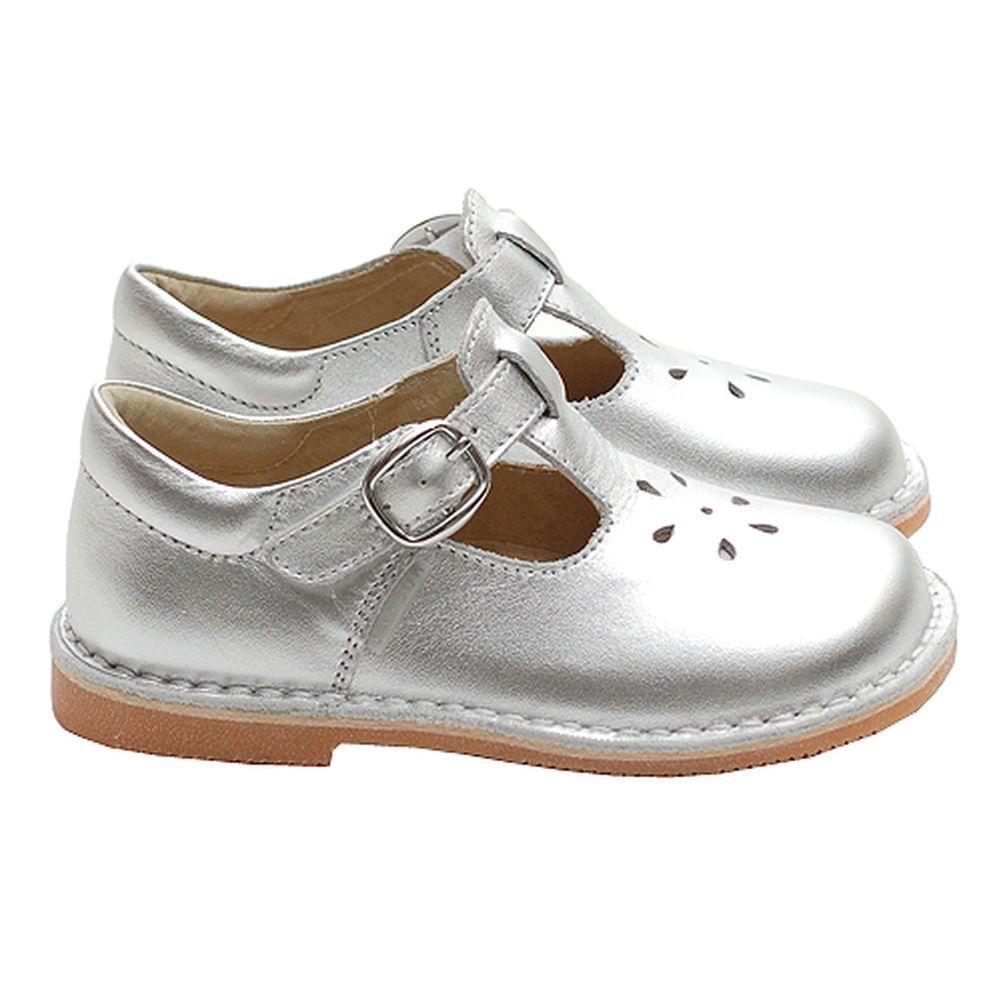 Toddler Little Girl Silver T Strap Buckle Flower Dress Shoe 5-2
