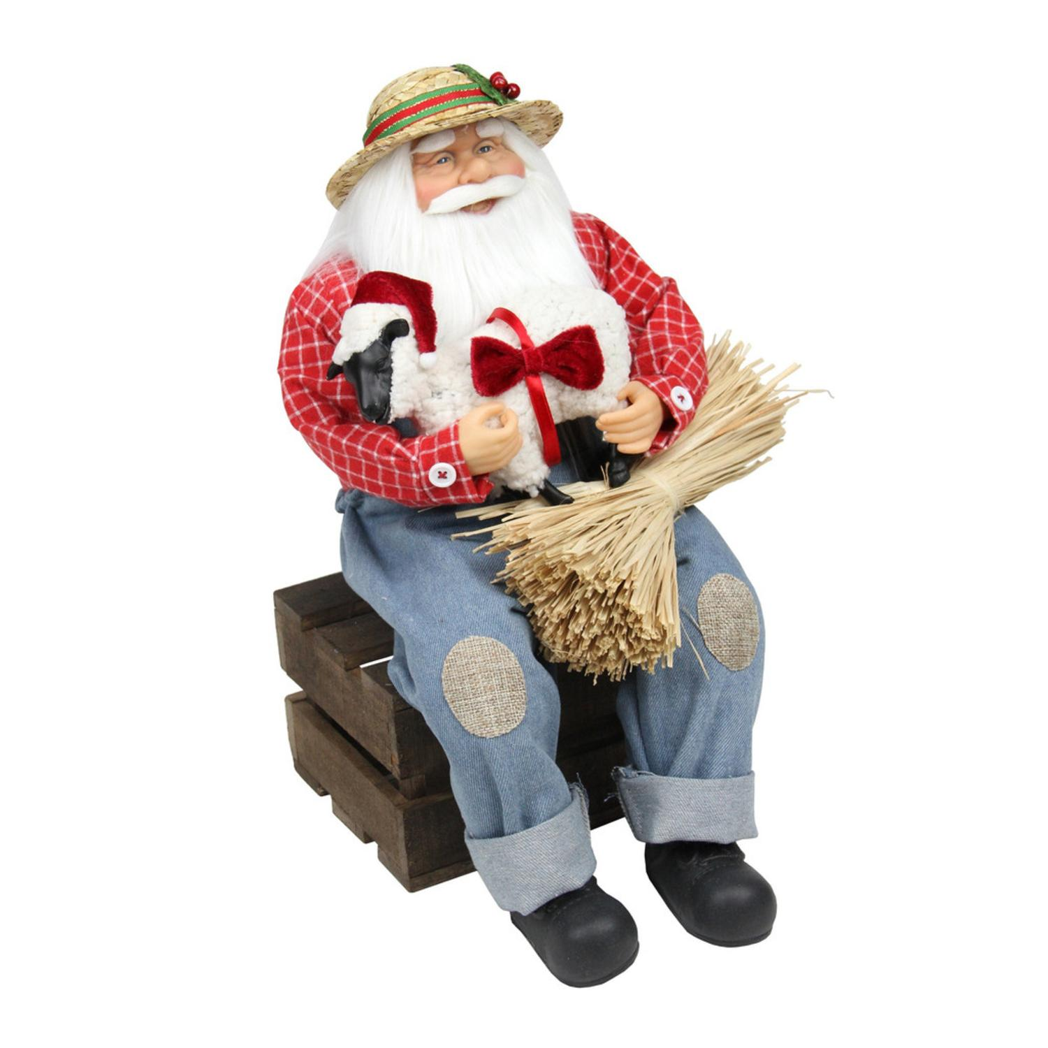 "15"" Country Heritage Santa Claus Holding Hampshire Sheep Christmas Decoration - image 1 of 1"