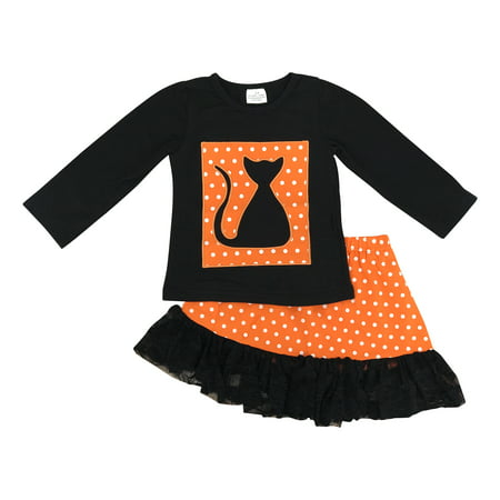 Crazy Cat Lady Halloween Outfit (Unique Baby Girls Fall Fashion Halloween Long Sleeve Black Cat Skirt Set with Lace Trim)