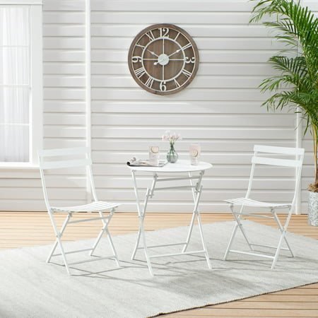 Mainstays 3-Piece White Folding Bistro Table and Chair Set