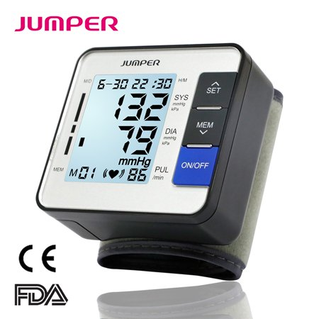 JUMPER 900W Automatic Wrist Blood Pressure Monitor Cuff Kit Clinical Digital BP Meter for Home Use with Large LCD Display and 90-Reading