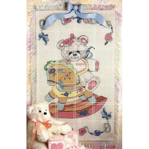 "Bear On Rocking Horse Baby Afghan Counted Cross Stitch Kit, 29"" x 45"" 18 Count"