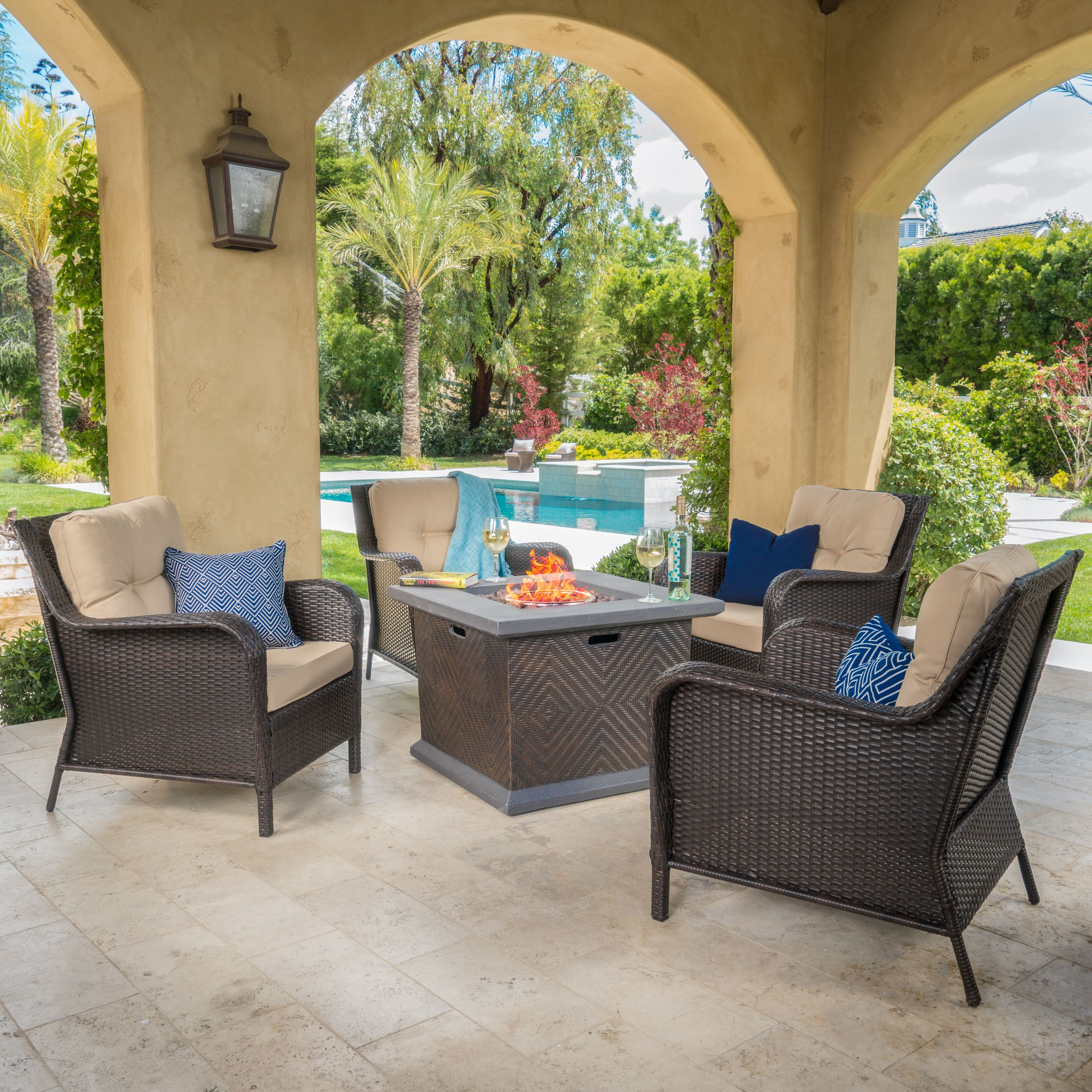 Malta 5 Piece Outdoor Club Chair and Square Fire Pit Conversation Set with Cushions, Dark Brown, Tan