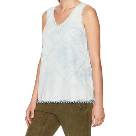 Vintage America NEW Blue Womens Size XL Bandana Print V-Neck Tank Top (Bandana Womens Tee)