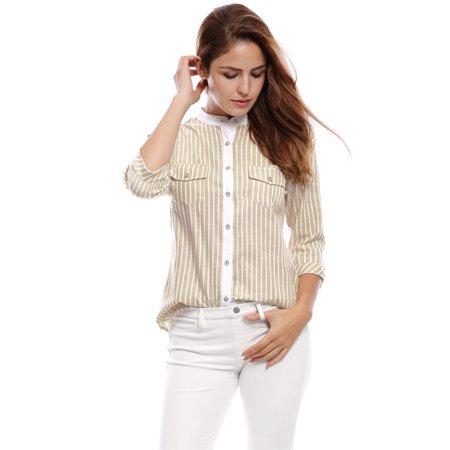 3/4 Cuff Sleeve Shirt - allegra k women's cuffed 3/4 sleeves stand collar buttoned striped shirt beige xl