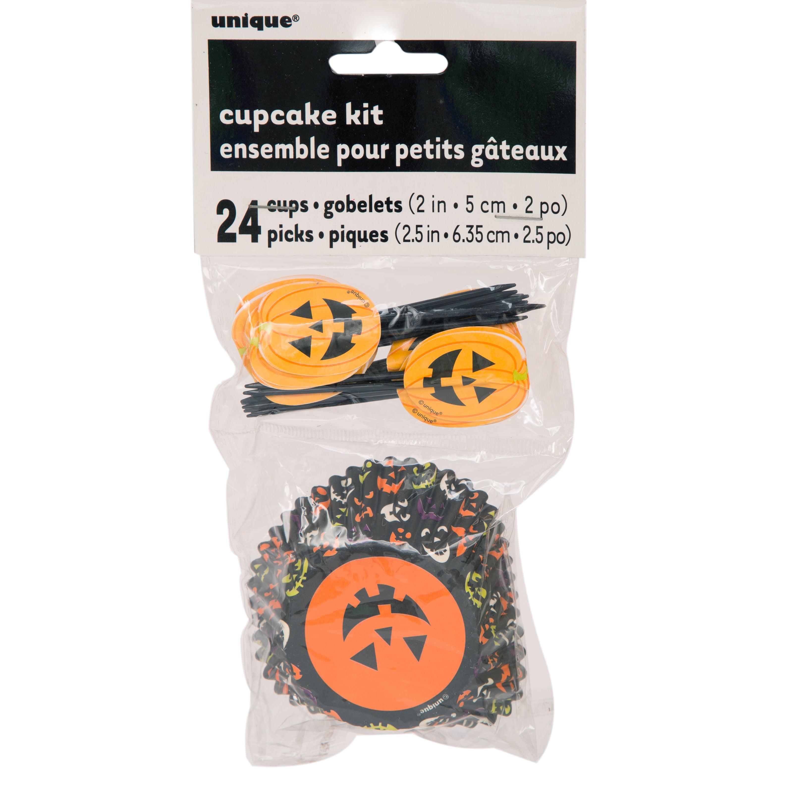 Pumpkin Faces Halloween Cupcake Kit for 24
