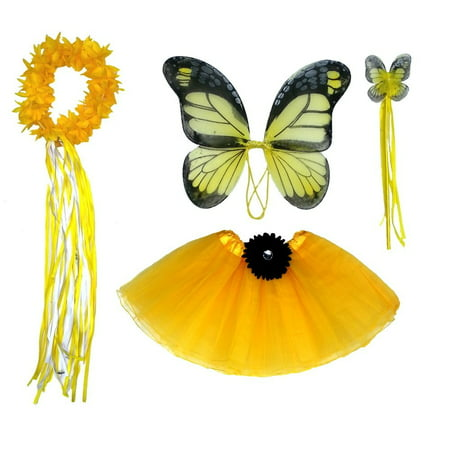 Girls Yellow Monarch Butterfly Fairy - Black Fairy Halloween Makeup