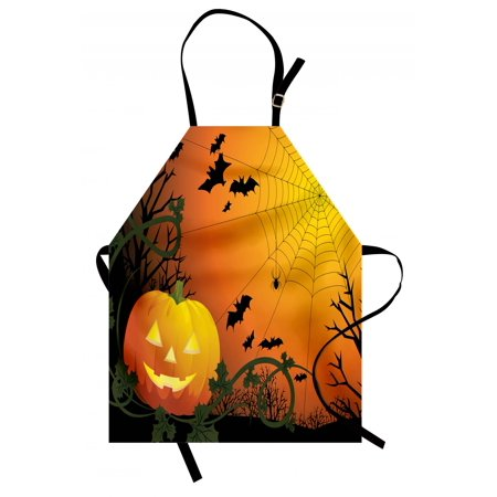 Spider Web Apron Halloween Themed Composition with Pumpkin Leaves Trees Web and Bats, Unisex Kitchen Bib Apron with Adjustable Neck for Cooking Baking Gardening, Orange Dark Green Black, by Ambesonne](Halloween Themed Cooking Ideas)