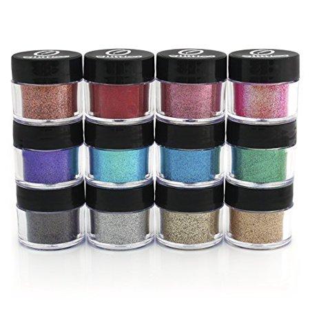 Ultra Fine Cosmetic Grade Glitter Powder Kit Safe for Skin 12 pack by Glitties