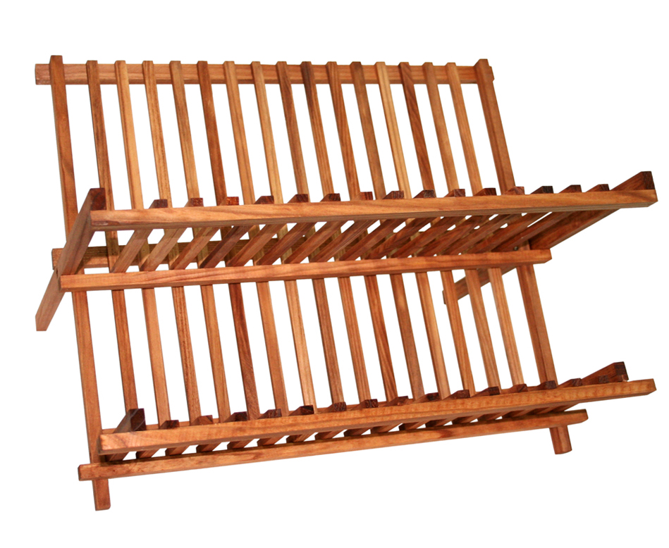 Home Basics Rustic Collection Pine Folding Dish Rack by HDS TRADING CORP