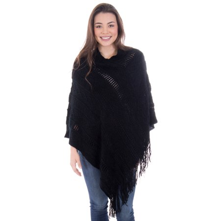 Loose Batwing Poncho (Ponchos for Women Batwing Knitted Tassel Pullover Sweater,)