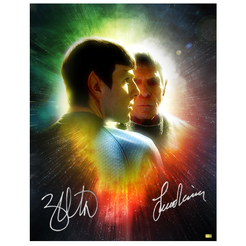 Leonard Nimoy and Zachary Quinto Autographed 11?14 Star Trek Spock Legacy Photo