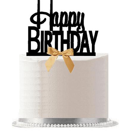 Happy Birthday Gold Bow Elegant Cake Decoration Topper