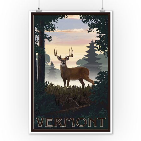 Vermont - Deer & Sunrise - Lantern Press Artwork (9x12 Art Print, Wall Decor Travel -