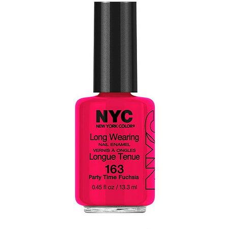 NYC New York Color Long Wearing Nail Enamel, 163 Party Time Fuchsia, 0.45 Fl. Oz. Long Wearing Nail Enamel