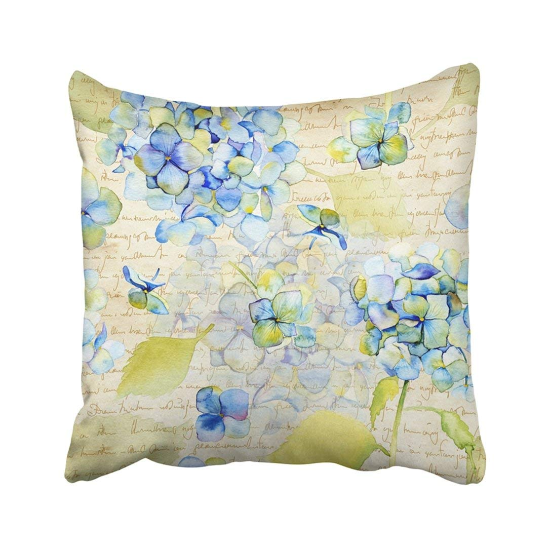 BPBOP Hortensia Watercolor Blue Hydrangea Vintage Botanical Bloom Artistic Bohemian Flora Floral Pillowcase Cover 18x18 inch