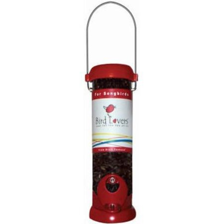 8' Red Bird Lovers Seed - BL8RS Bird Lovers 8-Inch Sunflower/Mixed Seed Feeder with Red Accents, The red base and top of this feeder adds vibrancy to your birding sanctuary By Droll Yankees