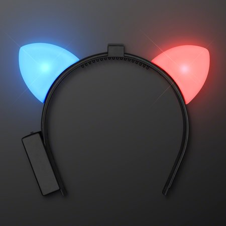 FlashingBlinkyLights Red & Blue Blinking Light Up LED Cat Ears Headband