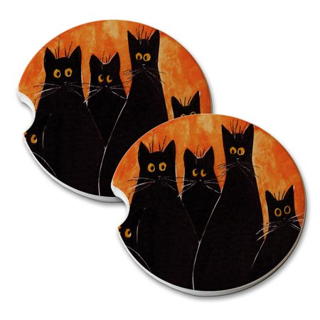 KuzmarK Sandstone Car Drink Coaster (set of 2) - Five Black Spooky Kitties Halloween Cat Art by Denise Every (Spooky Halloween Drink Names)