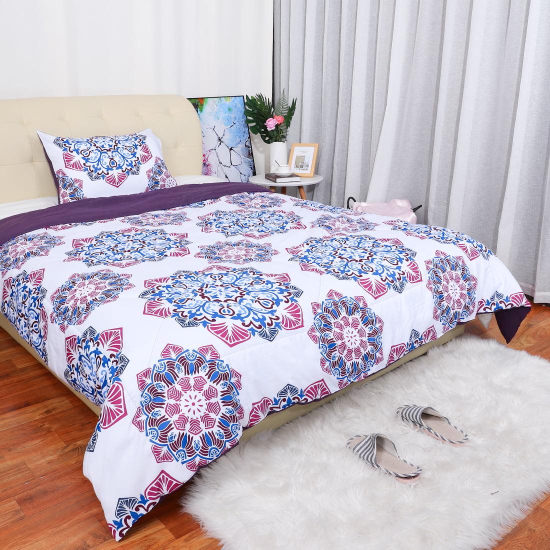 Microfiber Mandala Chic Boho Bohemian Sytle Circles Elephant Pattern Bedding Comforter Sets Purple Queen Size Walmart Com Walmart Com