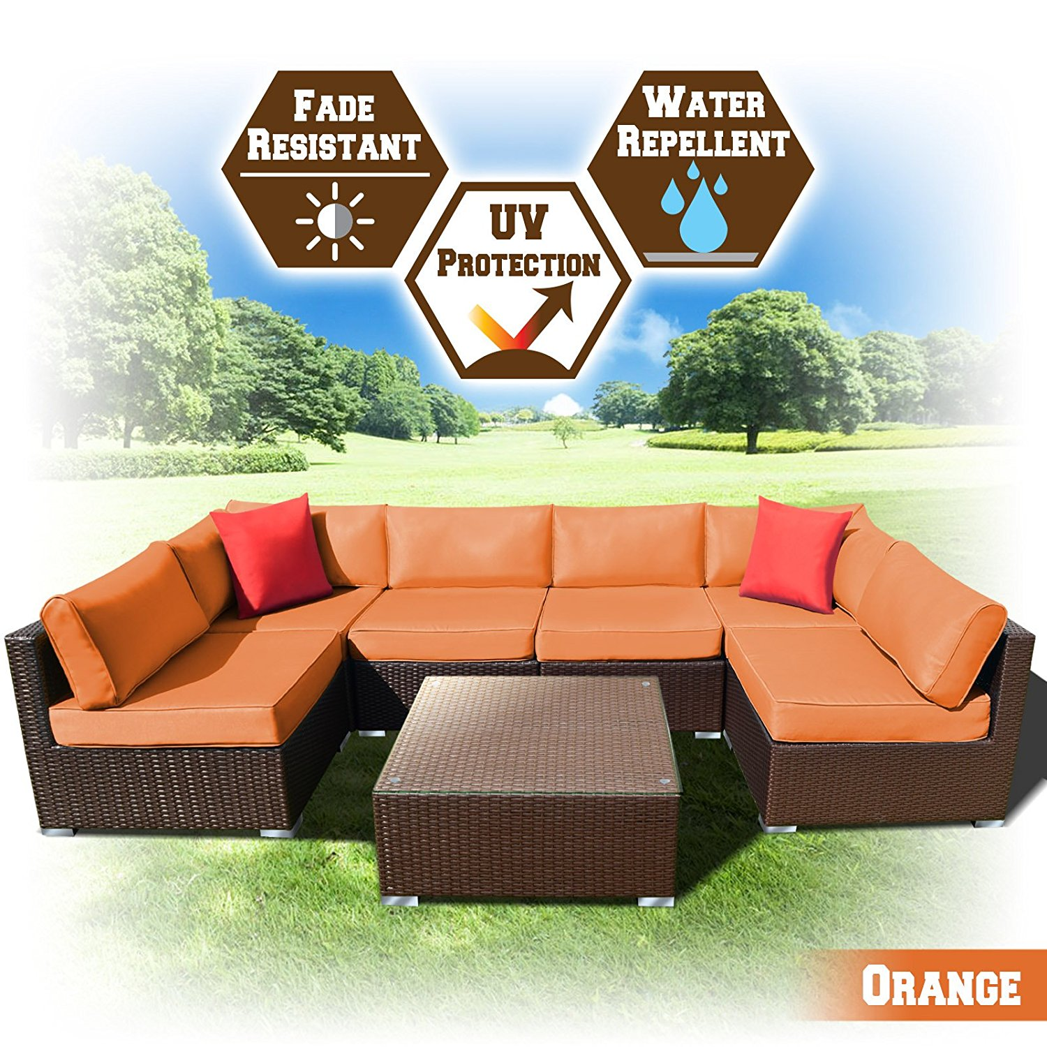 Strong Camel 7 PC Rattan Wicker Patio Set Outdoor Sectional Sofa Furniture With Cushion (Sand)