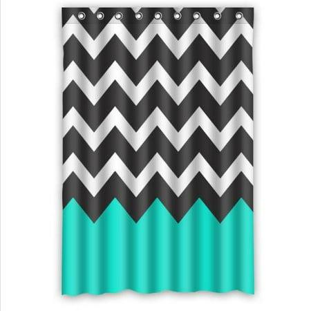 HelloDecor Chevron Turquoise Black White Shower Curtain Polyester Fabric Bathroom Decorative Curtain Size 48x72 (Black And White Chevron Shower Curtain Cheap)