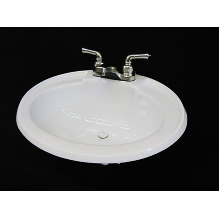 - Mobile Home RV Parts White Bathroom Lav Sink w/ Brushed Nickel Faucet 20x17