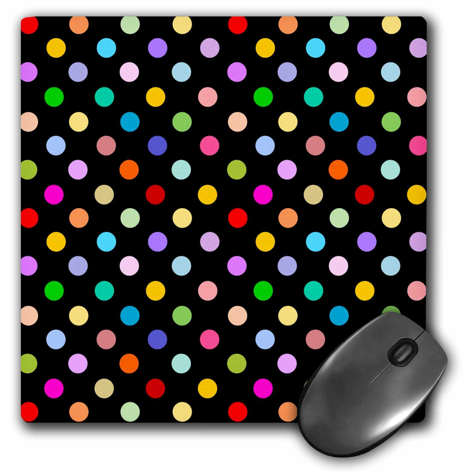 3dRose Colorful Polka dot pattern on black - Rainbow Multicolor Cute Dots and Spots Patterns, Mouse Pad, 8 by 8 inches