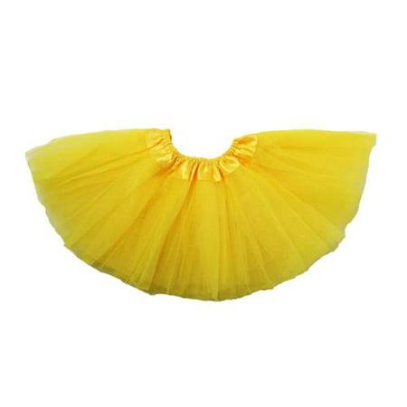 Baby Girls Yellow Satin Elastic Waist Ballet Tutu Skirt 0-12M