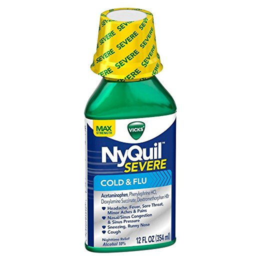 Nyquil Vicks Severe Cold & Flu Nighttime Relief Liquid, 12 Ounce