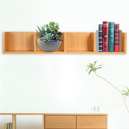 WALFRONT Modern Wall Mount Display Shelf CDs/DVDs Organizer Storage Rack Wooden Unit 4 Cases,Display Shelf, CD Display Shelf ()