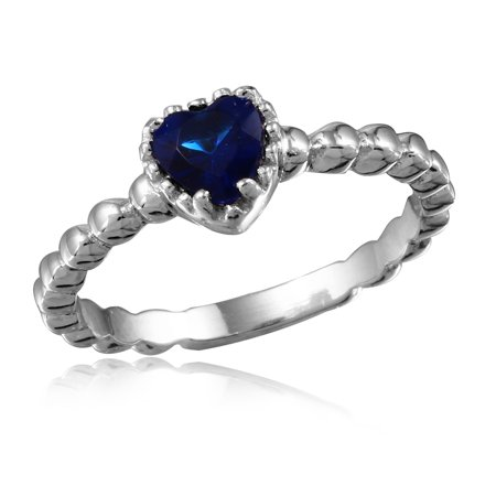 Simulated Sapphire Cubic Zirconia Beaded Band Heart Ring Rhodium Plated Sterling Silver Size -