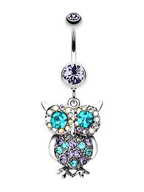 Jeweled Sparkling Owl Dangle WildKlass Belly Button Ring