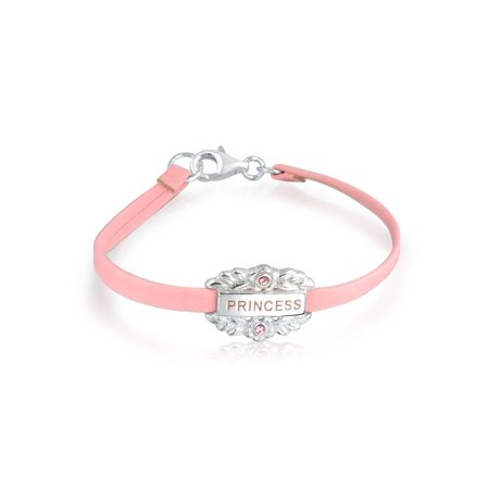 Small Heart Leather Pink Princess Word Name Plate ID Bracelet For Teen 925 Sterling Silver 6