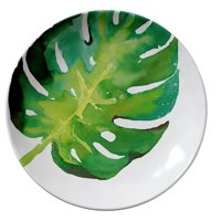 Merritt - Melamine Round Salad Plate - Tropical Leaf Monstera Palm - 8""
