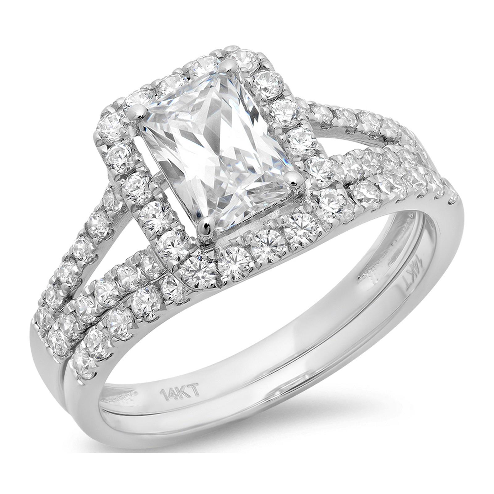 1.60 CT Emerald Cut Sim Diamond CZ Pave Halo Bridal Engag...