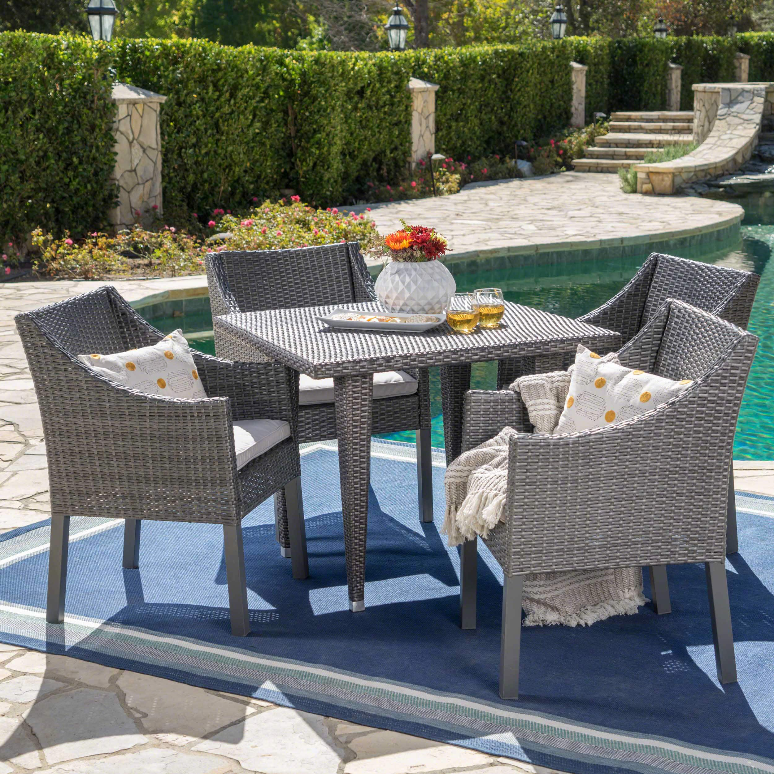Christopher Knight Home Alameda Outdoor 5-piece Wicker Square Dining Set with Water Resistant Cushions by