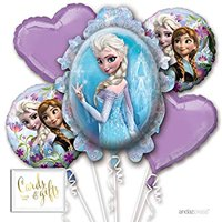 Balloon Bouquet Party Kit with Gold Cards & Gifts Sign, Disney Frozen Elsa Foil Mylar Balloon Decorations, 1-Set