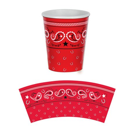 The Beistle Company Western Bandana 9 oz. Paper Everyday Cup (Set of 3)