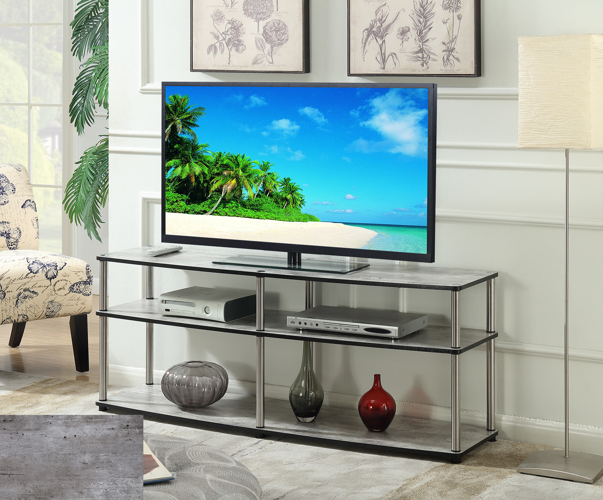 "Convenience Concepts Designs2Go No Tools 3 Tier 60"" TV Stand, Multiple Colors by Convenience Concepts Inc"