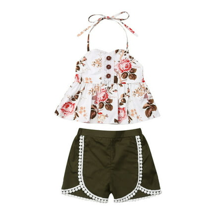 Summer Kids Baby Girls Floral Tops Shorts Pants Tassel Outfits Clothes 1-6Y