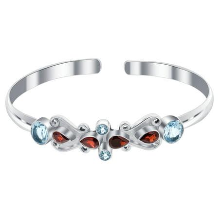 Gem Avenue 925 Sterling Silver Genuine Garnet Topaz Flytrap Shape Floral Bali Cuff Bracelet