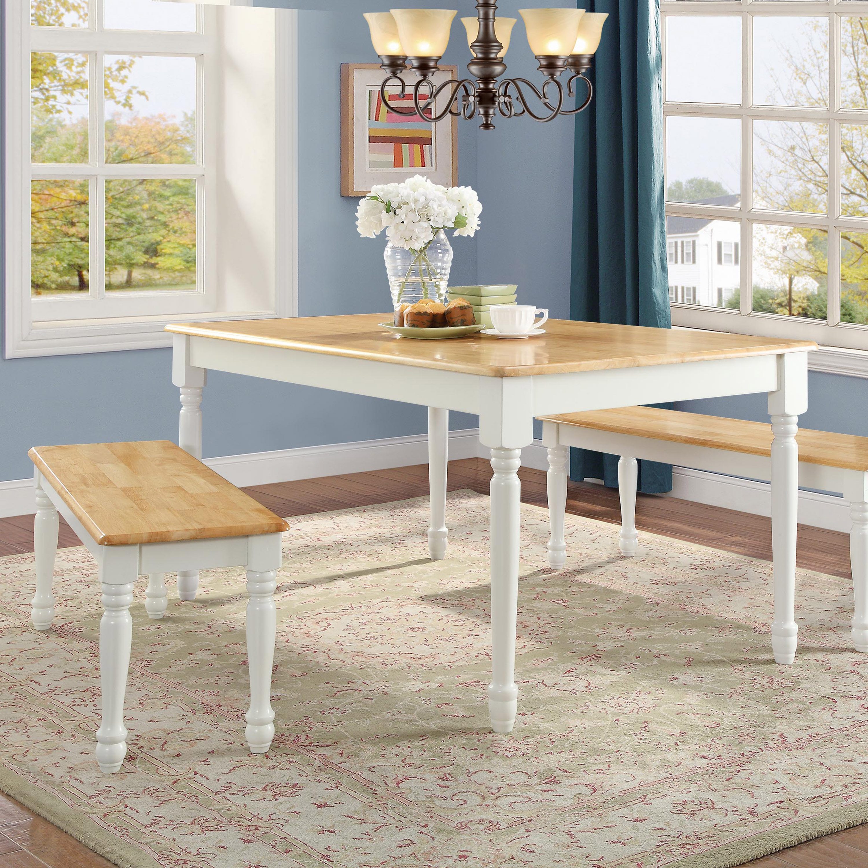 Better Homes and Gardens Autumn Lane 3-Piece Dining Set, White and Natural