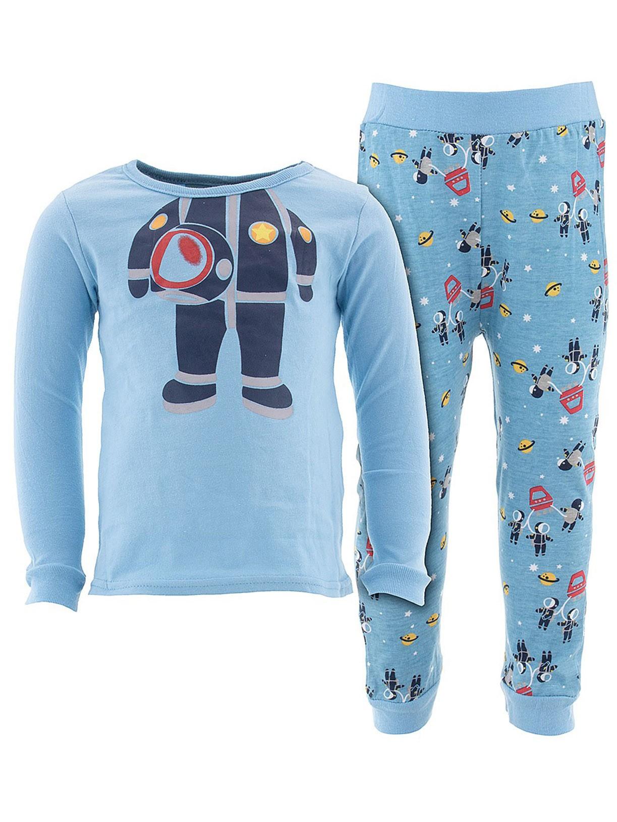 Sweet & Soft Little Boys Blue Astronaut Cotton Pajamas