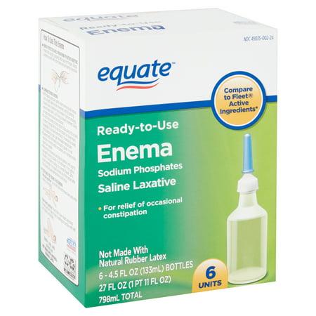 Equate Enema Sodium Phosphates Saline Laxative, 4.5 fl oz, 6 (Best Water For Enema)
