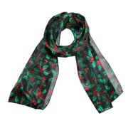Women's Long Satin Christmas Holiday Holly Leaves Scarf