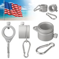TSV 2PCS Aluminum Flagpole Mounting Rings Clip 360 Degree Rotating Flagpole Flag Mounting Rings Spinning Flag Pole Kit Anti-Wrap with Carabiner for 0.75-1.02 inch Outside Diameter flagpoles