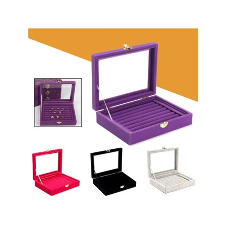 7 Colors Velvet PU Jewelry Box Storage Show Case Rings Earings Bracelet Portable Necklace Glass Display Holder Tray Wood Organizer Travel Ornaments Cosmetic Women Girls Gift