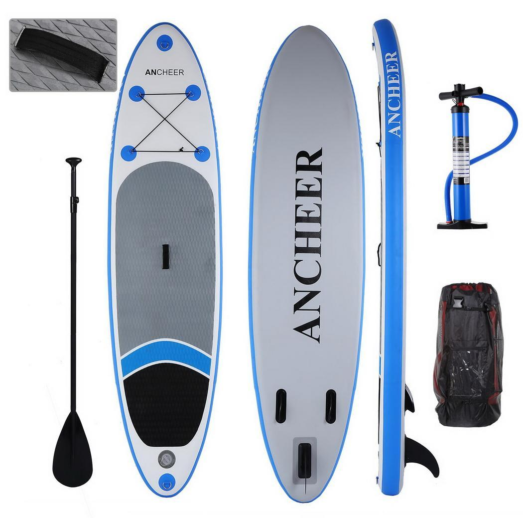 Hifashion inflatable Stand Up Paddle Board SUP w/ Adjustable Paddle Travel Backpack,Blue Sup Inflatable Paddle Boards