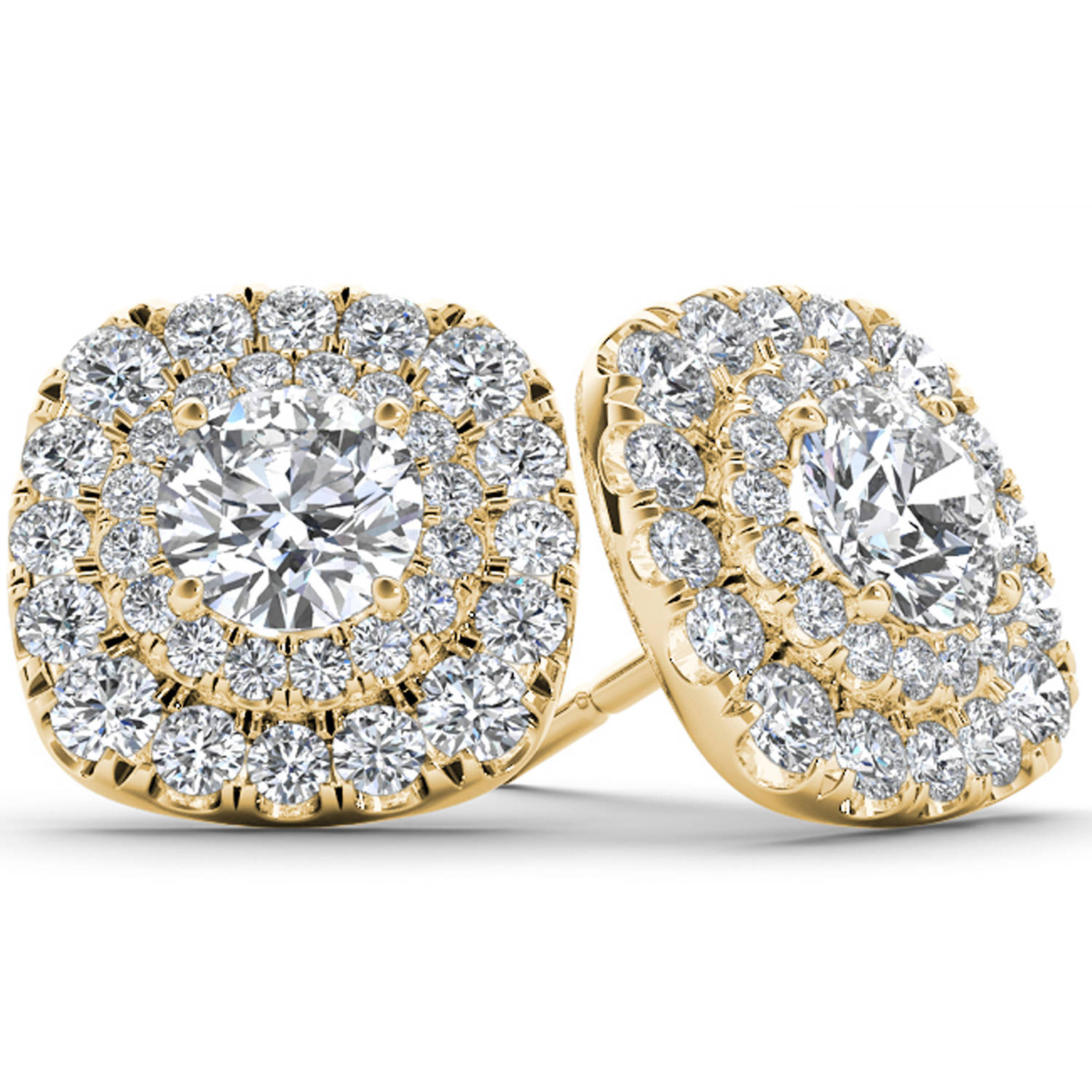 Imperial 1 Carat T.W. Diamond 10kt Yellow Gold Double-Halo Stud Earrings